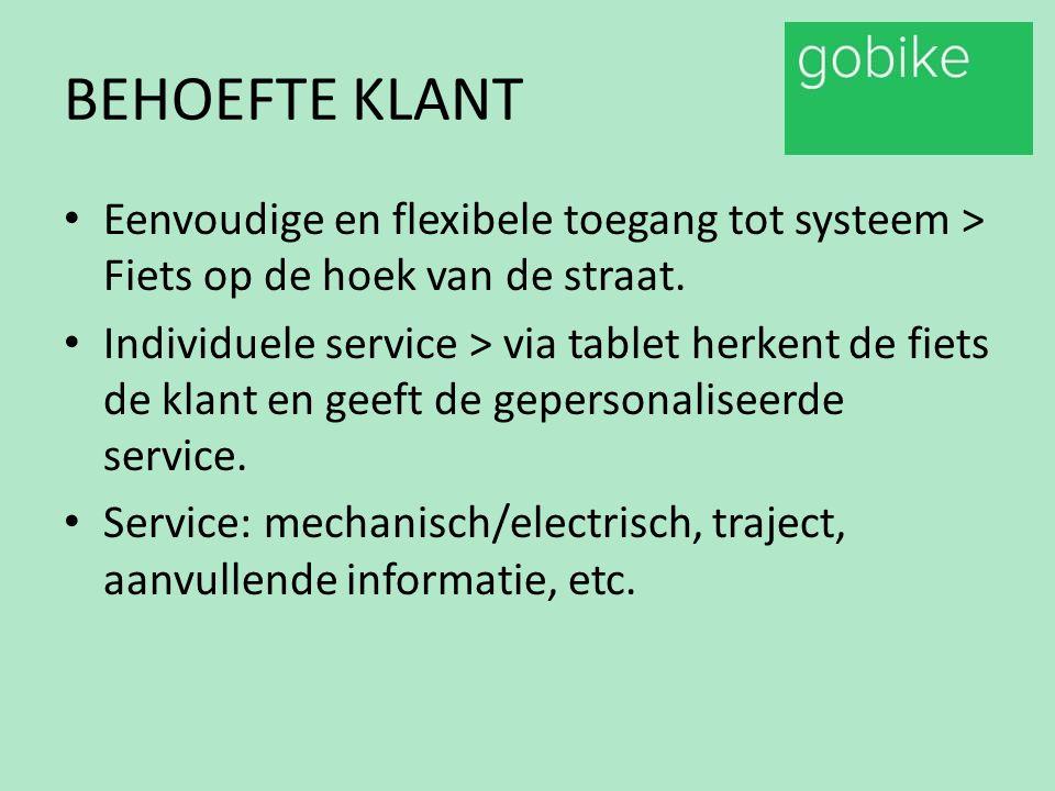 BEHOEFTE KLANT Eenvoudige en flexibele toegang tot systeem > Fiets op de hoek van de straat. Individuele service > via tablet herkent de fiets de klan