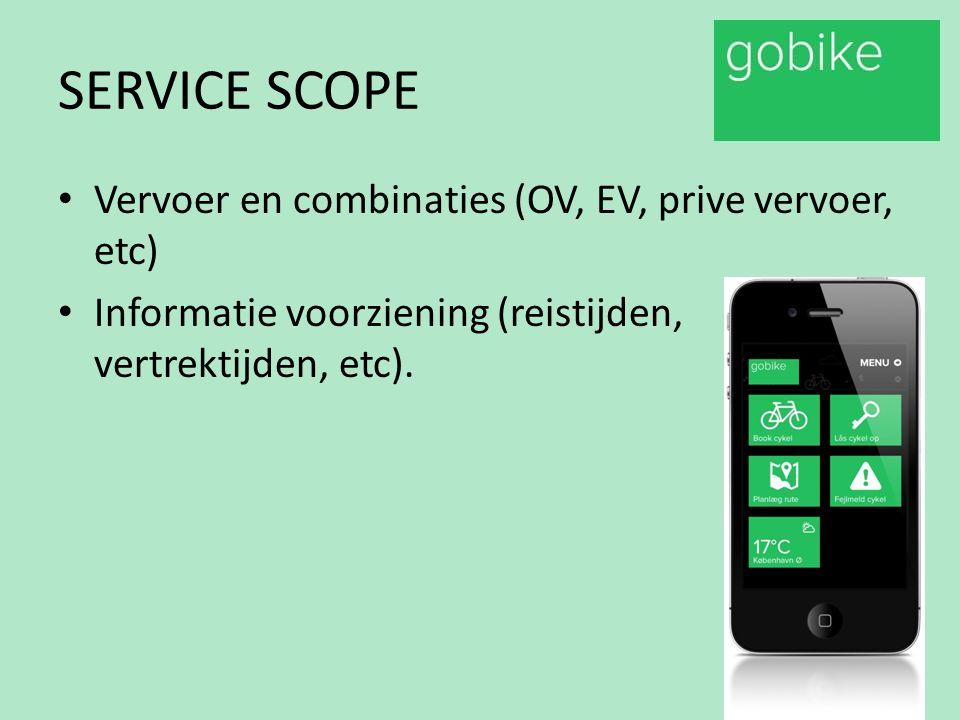 SERVICE SCOPE Vervoer en combinaties (OV, EV, prive vervoer, etc) Informatie voorziening (reistijden, vertrektijden, etc).