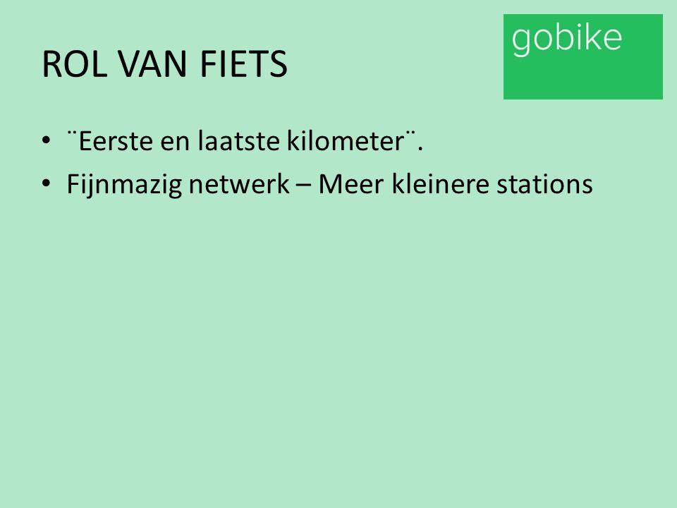ROL VAN FIETS Verkleinen afstand tot station > Vergroten ¨Hinterland¨ netwerk.