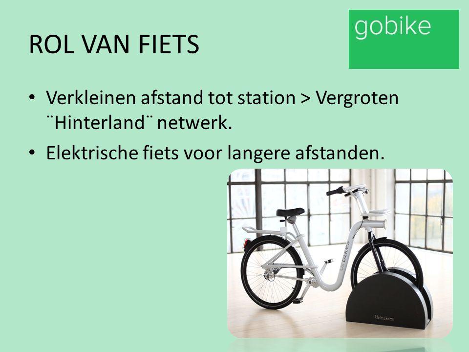 ROL VAN FIETS Verkleinen afstand tot station > Vergroten ¨Hinterland¨ netwerk. Elektrische fiets voor langere afstanden.