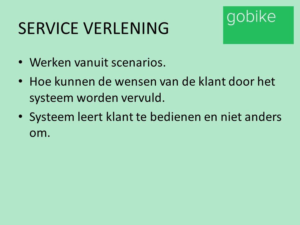 SERVICE VERLENING Werken vanuit scenarios. Hoe kunnen de wensen van de klant door het systeem worden vervuld. Systeem leert klant te bedienen en niet