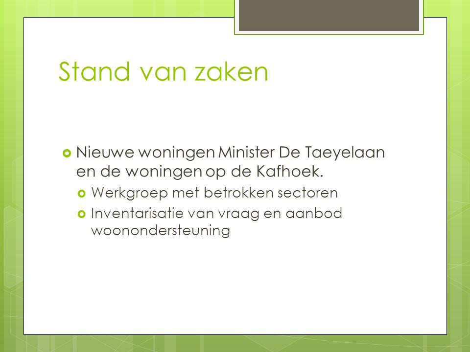 Stand van zaken  Nieuwe woningen Minister De Taeyelaan en de woningen op de Kafhoek.