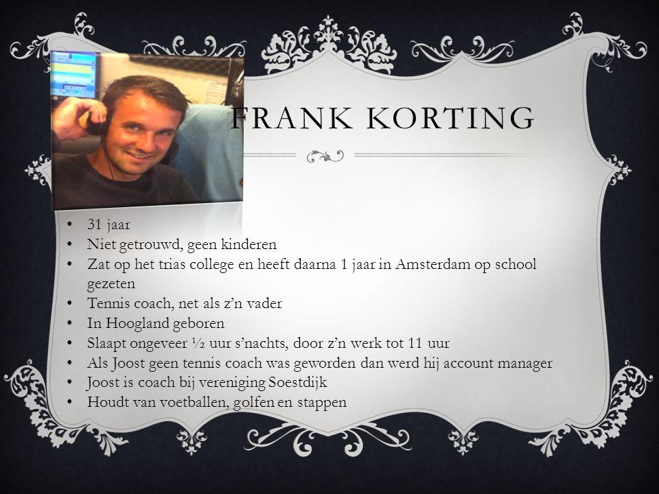 FRANK KORTING 31 jaar Niet getrouwd, geen kinderen Zat op het trias college en heeft daarna 1 jaar in Amsterdam op school gezeten Tennis coach, net al