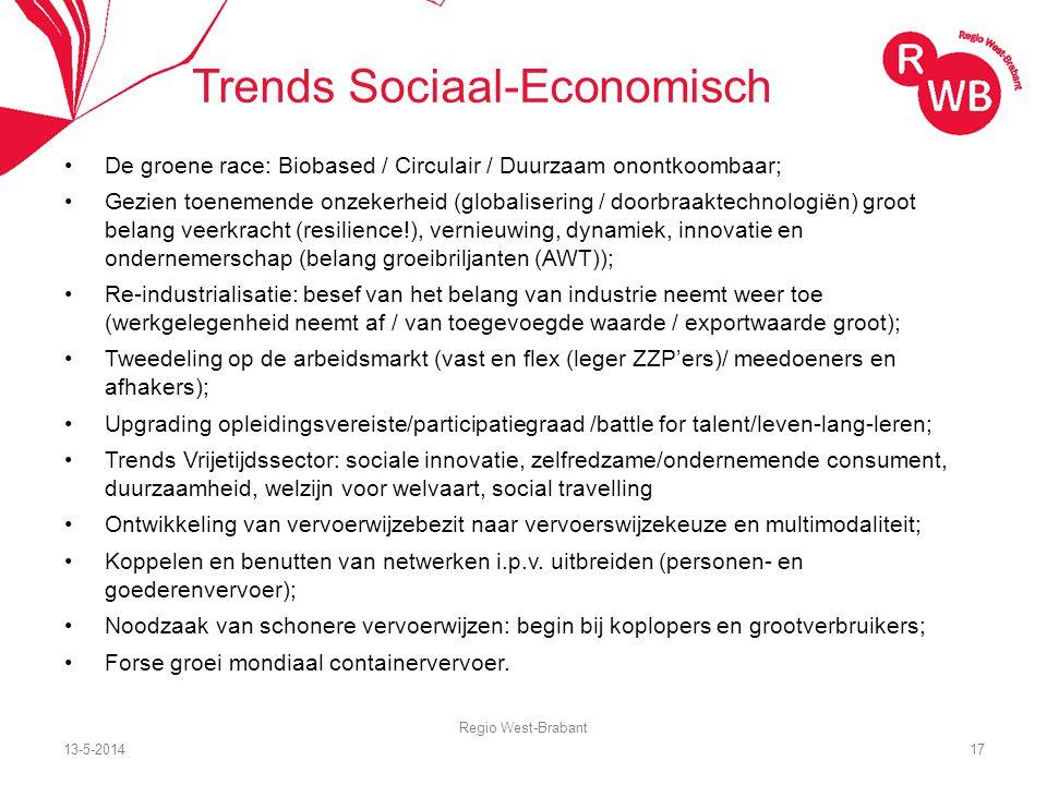 13-5-2014 Regio West-Brabant 17 Trends Sociaal-Economisch De groene race: Biobased / Circulair / Duurzaam onontkoombaar; Gezien toenemende onzekerheid (globalisering / doorbraaktechnologiën) groot belang veerkracht (resilience!), vernieuwing, dynamiek, innovatie en ondernemerschap (belang groeibriljanten (AWT)); Re-industrialisatie: besef van het belang van industrie neemt weer toe (werkgelegenheid neemt af / van toegevoegde waarde / exportwaarde groot); Tweedeling op de arbeidsmarkt (vast en flex (leger ZZP'ers)/ meedoeners en afhakers); Upgrading opleidingsvereiste/participatiegraad /battle for talent/leven-lang-leren; Trends Vrijetijdssector: sociale innovatie, zelfredzame/ondernemende consument, duurzaamheid, welzijn voor welvaart, social travelling Ontwikkeling van vervoerwijzebezit naar vervoerswijzekeuze en multimodaliteit; Koppelen en benutten van netwerken i.p.v.