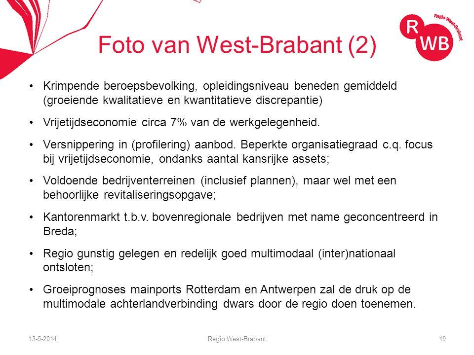 13-5-2014Regio West-Brabant19 Foto van West-Brabant (2) Krimpende beroepsbevolking, opleidingsniveau beneden gemiddeld (groeiende kwalitatieve en kwantitatieve discrepantie) Vrijetijdseconomie circa 7% van de werkgelegenheid.