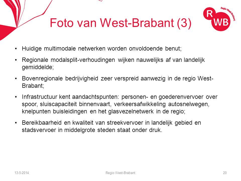 13-5-2014Regio West-Brabant20 Foto van West-Brabant (3) Huidige multimodale netwerken worden onvoldoende benut; Regionale modalsplit-verhoudingen wijken nauwelijks af van landelijk gemiddelde; Bovenregionale bedrijvigheid zeer verspreid aanwezig in de regio West- Brabant; Infrastructuur kent aandachtspunten: personen- en goederenvervoer over spoor, sluiscapaciteit binnenvaart, verkeersafwikkeling autosnelwegen, knelpunten buisleidingen en het glasvezelnetwerk in de regio; Bereikbaarheid en kwaliteit van streekvervoer in landelijk gebied en stadsvervoer in middelgrote steden staat onder druk.