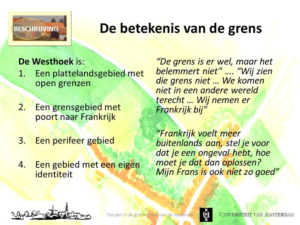 U NIVERSITEIT VAN A MSTERDAM De betekenis van de grens De Westhoek is: 1.Een plattelandsgebied met open grenzen 2.Een grensgebied met poort naar Frank