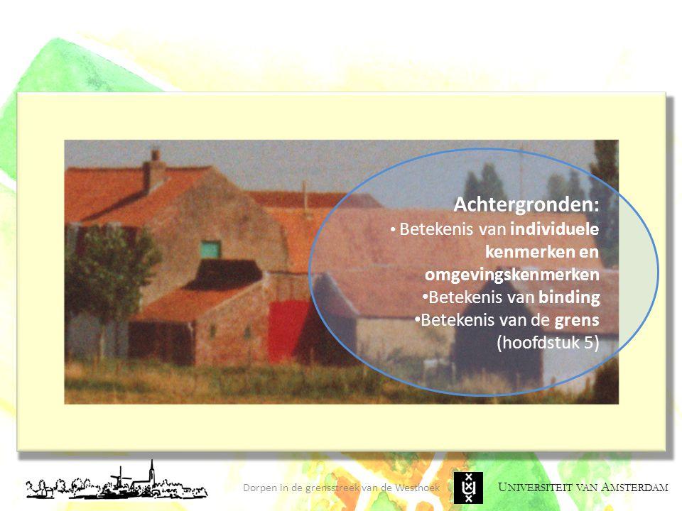 U NIVERSITEIT VAN A MSTERDAM Dorpen in de grensstreek van de Westhoek Achtergronden: Betekenis van individuele kenmerken en omgevingskenmerken Beteken