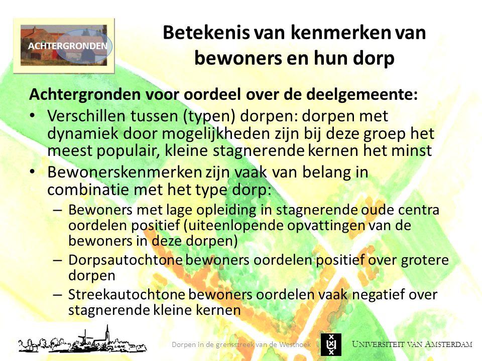 U NIVERSITEIT VAN A MSTERDAM Betekenis van kenmerken van bewoners en hun dorp Achtergronden voor oordeel over de deelgemeente: Verschillen tussen (typ