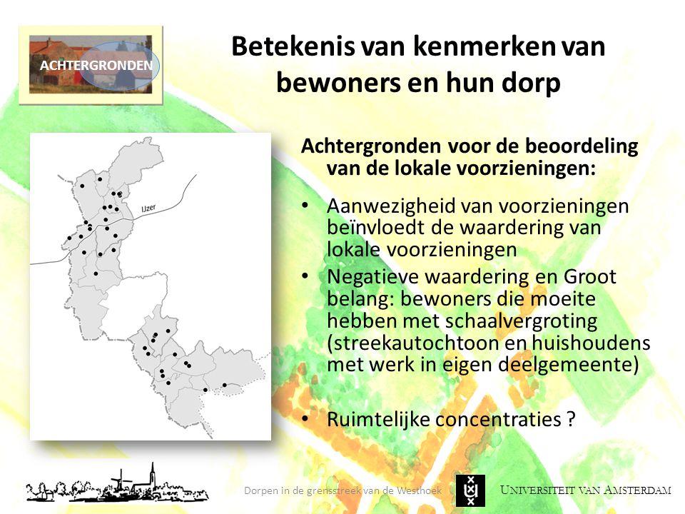 U NIVERSITEIT VAN A MSTERDAM Betekenis van kenmerken van bewoners en hun dorp Achtergronden voor de beoordeling van de lokale voorzieningen: Aanwezigh