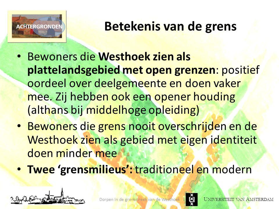 U NIVERSITEIT VAN A MSTERDAM Betekenis van de grens Dorpen in de grensstreek van de Westhoek ACHTERGRONDEN Bewoners die Westhoek zien als plattelandsg