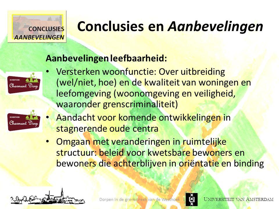 U NIVERSITEIT VAN A MSTERDAM Conclusies en Aanbevelingen Dorpen in de grensstreek van de Westhoek CONCLUSIES AANBEVELINGEN Aanbevelingen leefbaarheid: