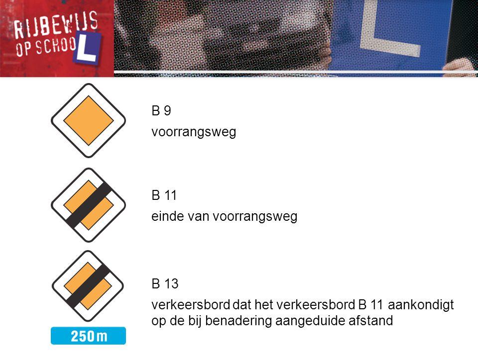 B 11 einde van voorrangsweg B 13 verkeersbord dat het verkeersbord B 11 aankondigt op de bij benadering aangeduide afstand B 9 voorrangsweg