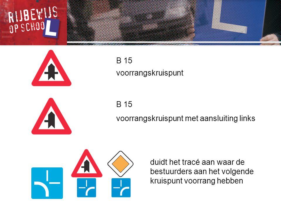 B 15 voorrangskruispunt met aansluiting links B 15 voorrangskruispunt duidt het tracé aan waar de bestuurders aan het volgende kruispunt voorrang hebb