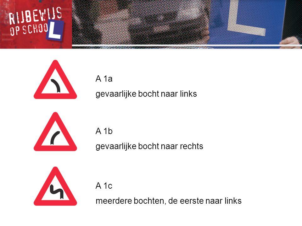 A 1b gevaarlijke bocht naar rechts A 1c meerdere bochten, de eerste naar links A 1a gevaarlijke bocht naar links