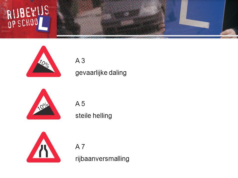 A 3 gevaarlijke daling A 5 steile helling A 7 rijbaanversmalling