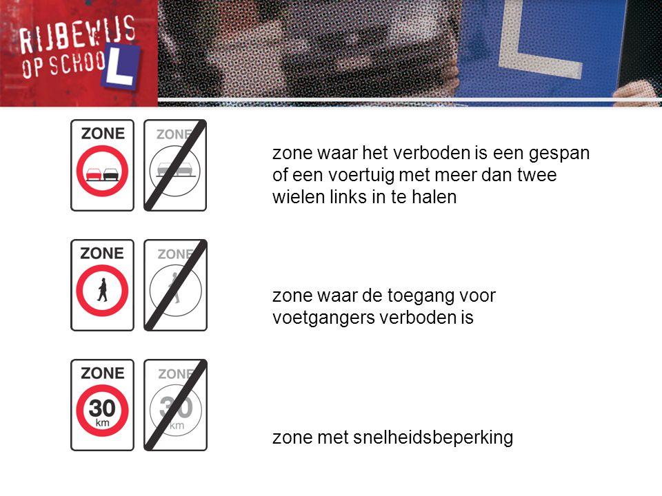 zone waar de toegang voor voetgangers verboden is zone met snelheidsbeperking zone waar het verboden is een gespan of een voertuig met meer dan twee w
