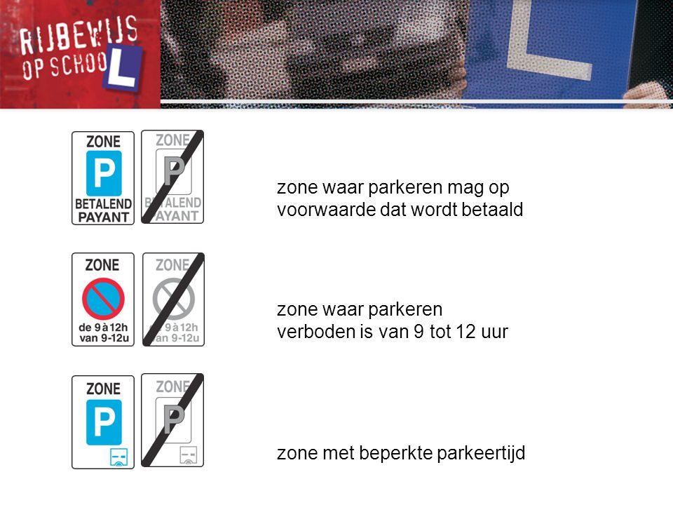 zone waar parkeren mag op voorwaarde dat wordt betaald zone waar parkeren verboden is van 9 tot 12 uur zone met beperkte parkeertijd