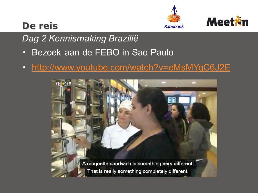 De reis De reis Dag 2 Kennismaking Brazilië Bezoek aan de FEBO in Sao Paulo http://www.youtube.com/watch v=eMsMYqC6J2E