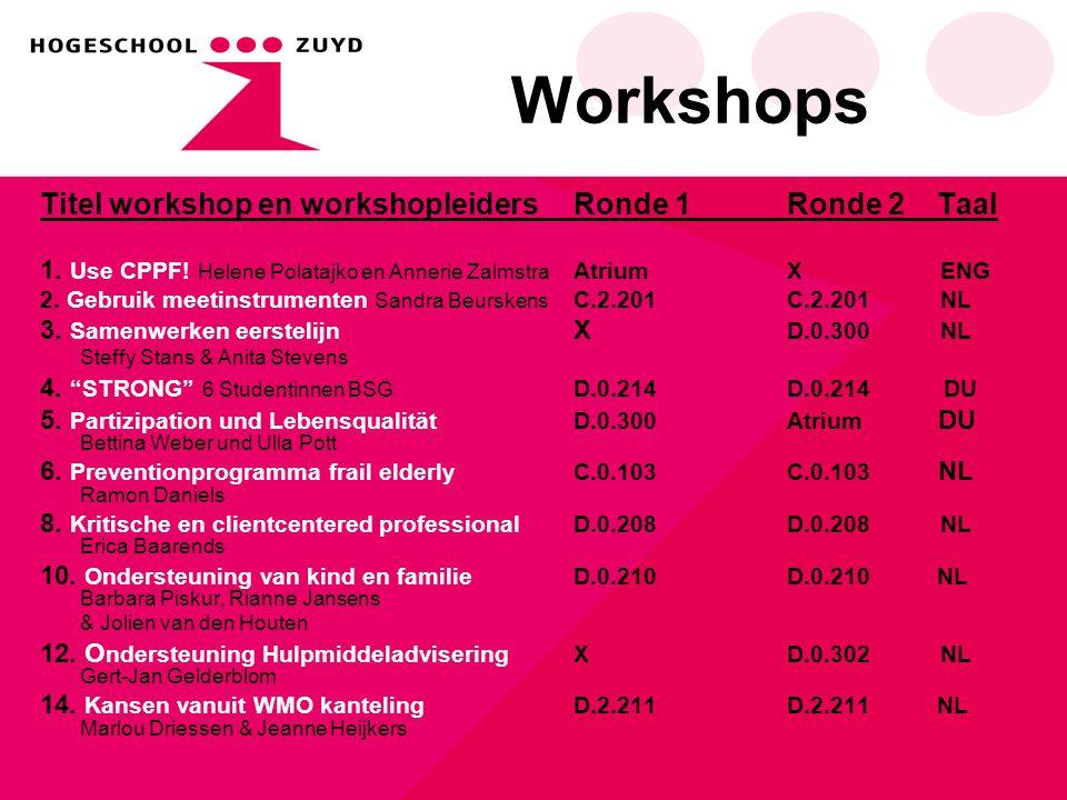 Workshops Titel workshop en workshopleidersRonde 1Ronde 2 Taal 1.