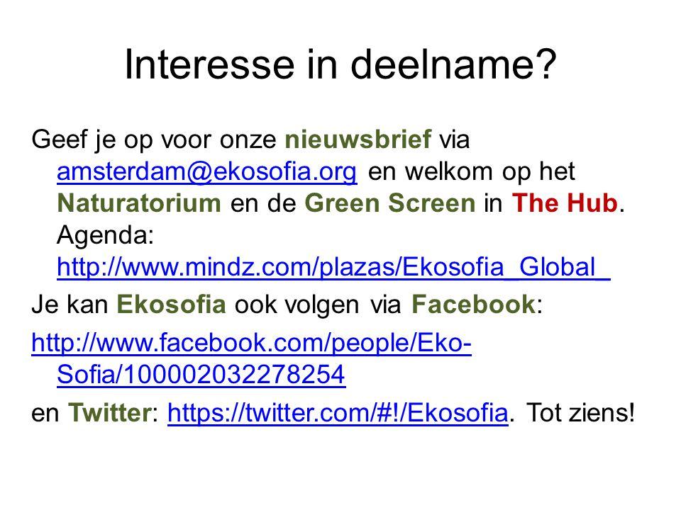 Interesse in deelname? Geef je op voor onze nieuwsbrief via amsterdam@ekosofia.org en welkom op het Naturatorium en de Green Screen in The Hub. Agenda