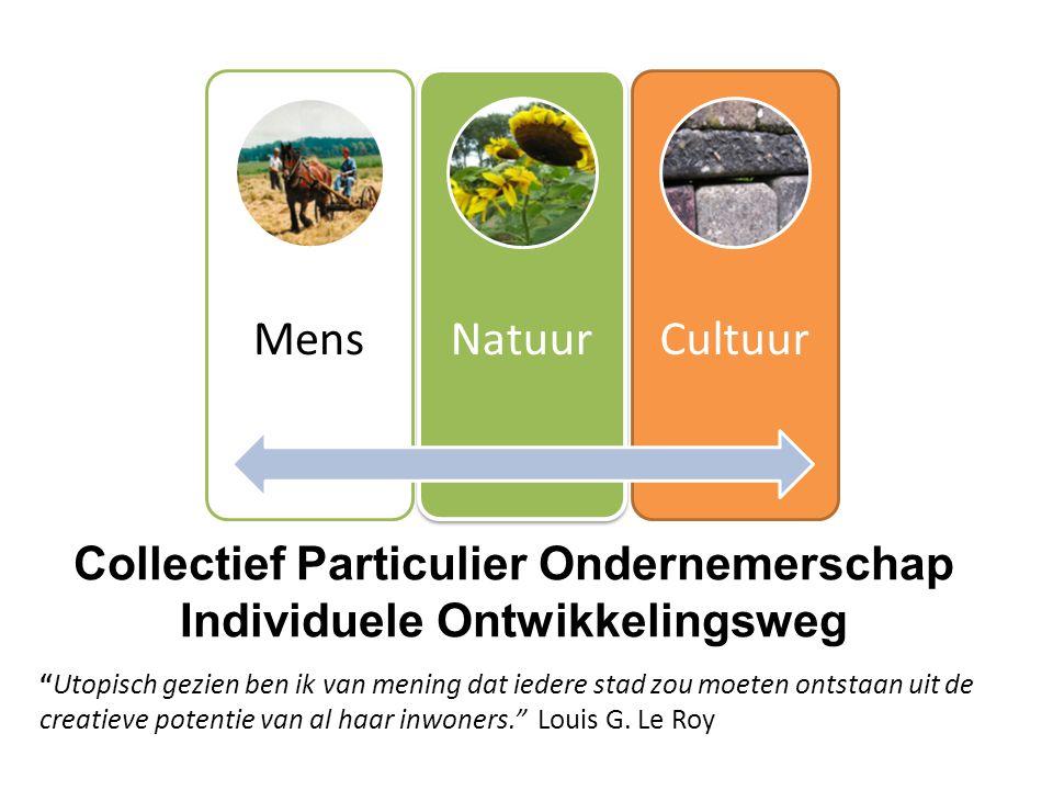 """Collectief Particulier Ondernemerschap Individuele Ontwikkelingsweg MensNatuurCultuur """"Utopisch gezien ben ik van mening dat iedere stad zou moeten on"""
