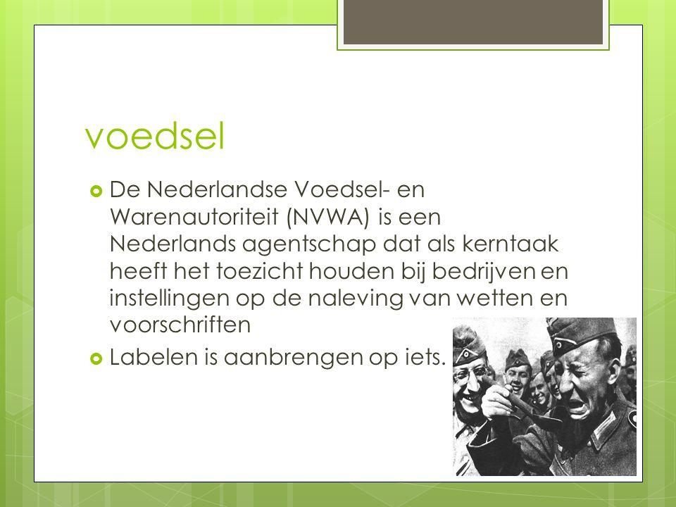 voedsel  De Nederlandse Voedsel- en Warenautoriteit (NVWA) is een Nederlands agentschap dat als kerntaak heeft het toezicht houden bij bedrijven en i