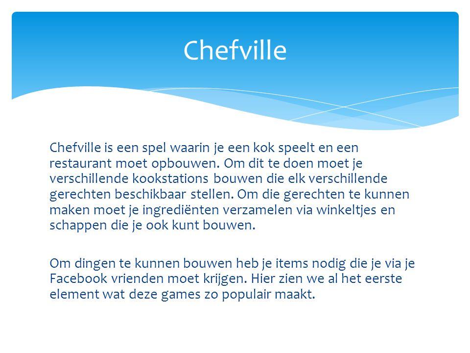 Chefville is een spel waarin je een kok speelt en een restaurant moet opbouwen. Om dit te doen moet je verschillende kookstations bouwen die elk versc