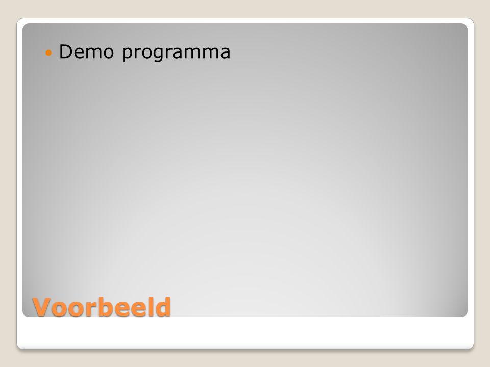 Voorbeeld Demo programma