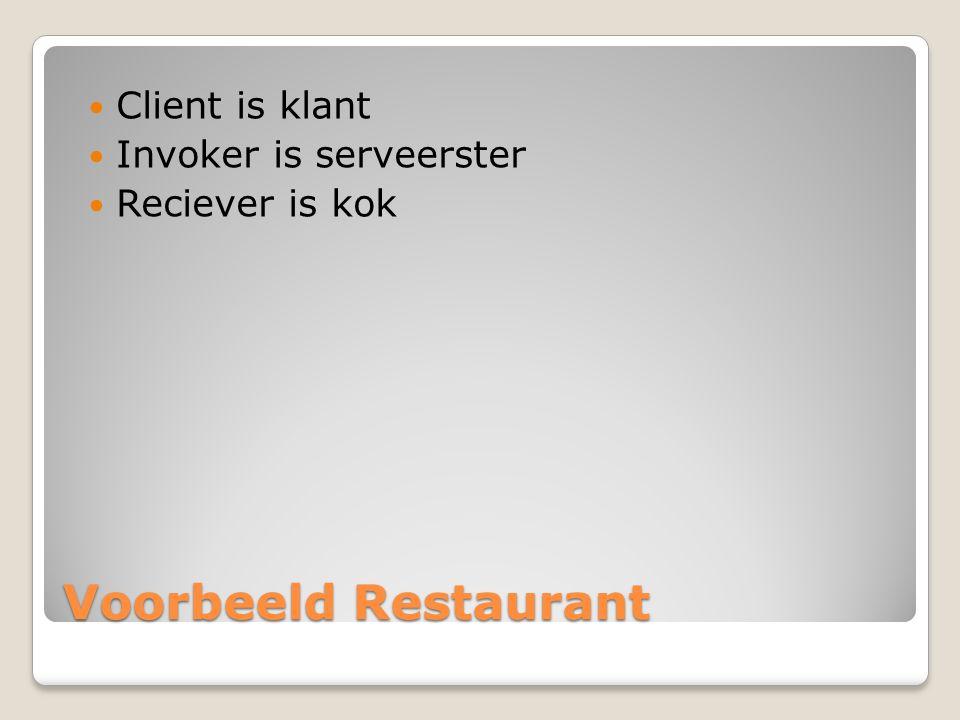 Voorbeeld Restaurant Client is klant Invoker is serveerster Reciever is kok