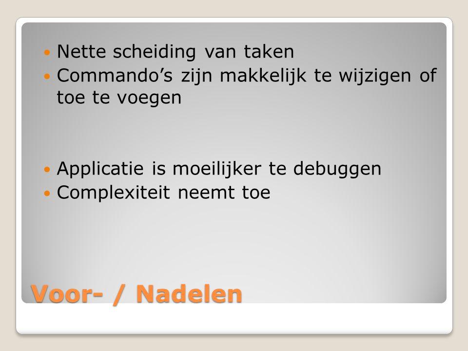 Voor- / Nadelen Nette scheiding van taken Commando's zijn makkelijk te wijzigen of toe te voegen Applicatie is moeilijker te debuggen Complexiteit nee