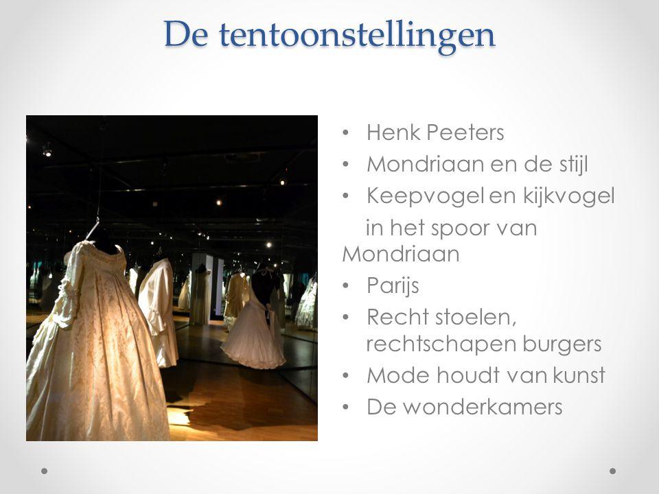 De tentoonstellingen Henk Peeters Mondriaan en de stijl Keepvogel en kijkvogel in het spoor van Mondriaan Parijs Recht stoelen, rechtschapen burgers M