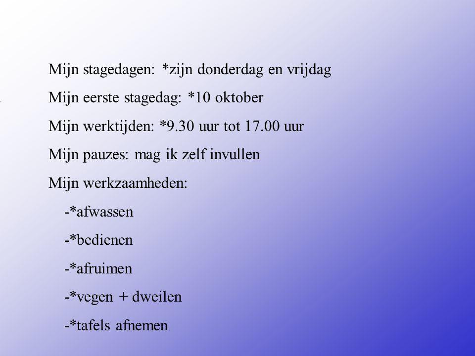 Mijn stageplek is een broodjeswinkel en een restaurant Adres: Korte Bischopstraat +12 Plaats: Deventer **Wat voor bedrijf is het .