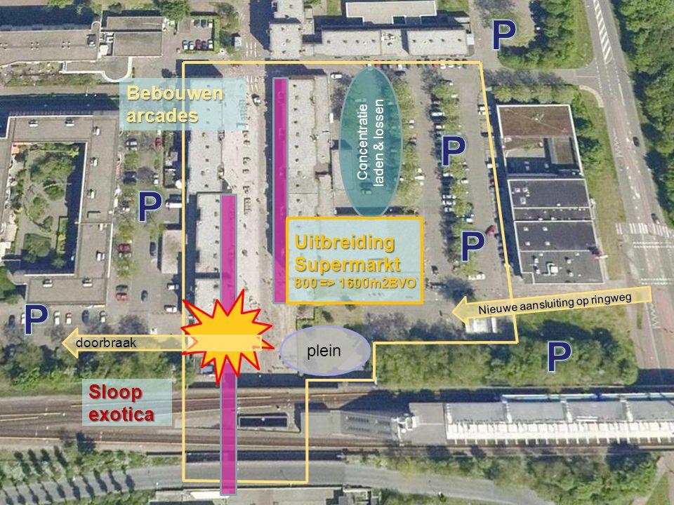 Bebouwen arcades Sloop exotica Concentratie laden & lossen doorbraak UitbreidingSupermarkt 800 => 1600m2BVO plein Nieuwe aansluiting op ringweg