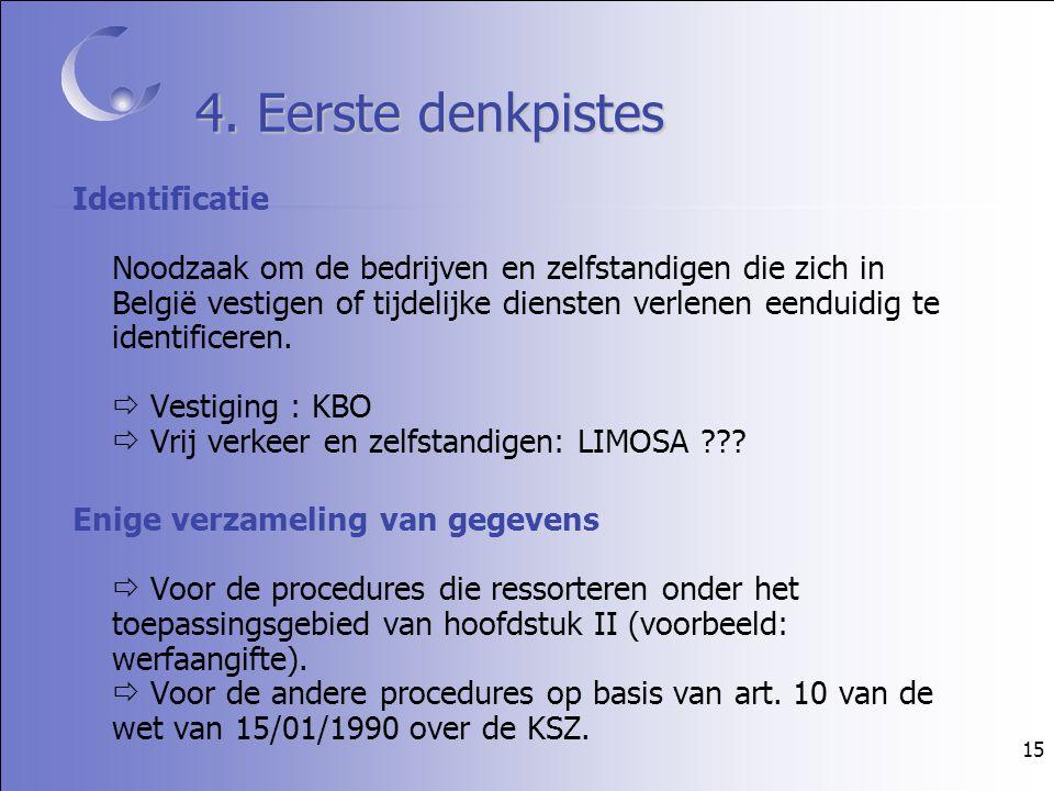 15 4. Eerste denkpistes Identificatie Noodzaak om de bedrijven en zelfstandigen die zich in België vestigen of tijdelijke diensten verlenen eenduidig