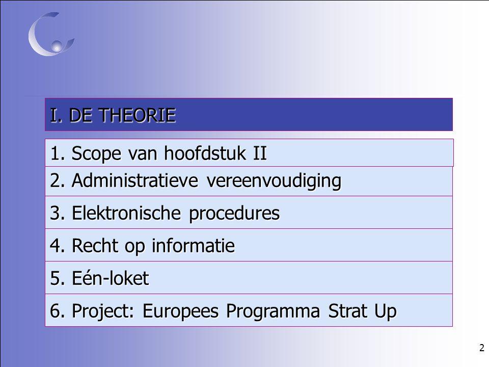 2 4. Recht op informatie 3. Elektronische procedures 2. Administratieve vereenvoudiging 5. Eén-loket 6. Project: Europees Programma Strat Up I. DE THE