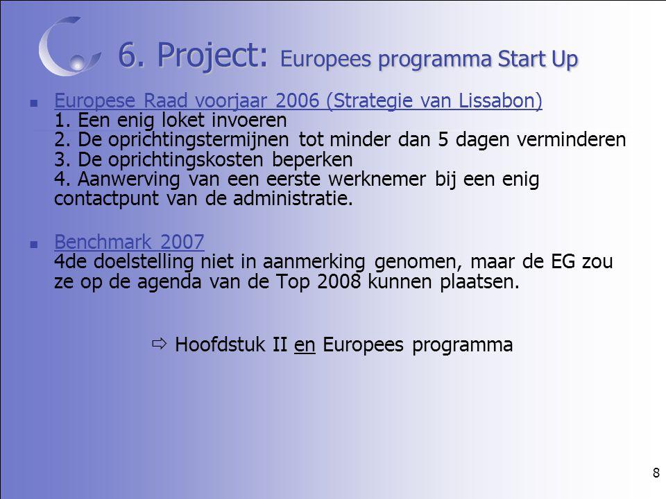 8 6. Project: Europees programma Start Up Europese Raad voorjaar 2006 (Strategie van Lissabon) 1. Een enig loket invoeren 2. De oprichtingstermijnen t