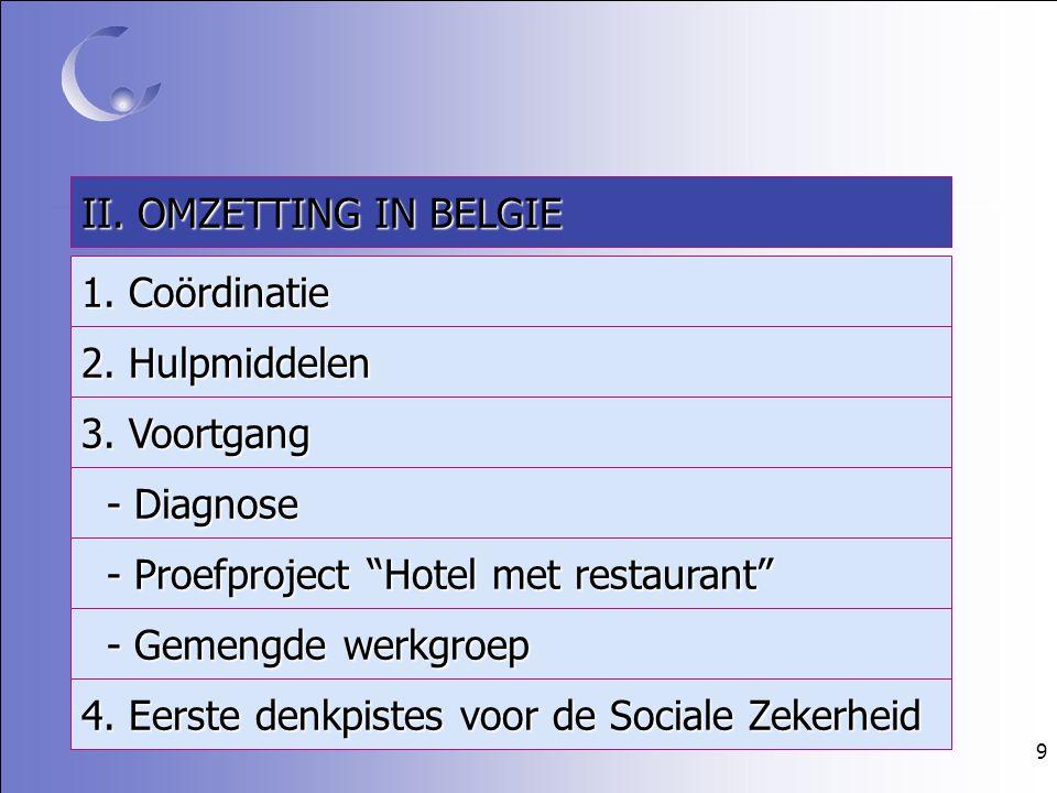 """9 II. OMZETTING IN BELGIE 1. Coördinatie 2. Hulpmiddelen 3. Voortgang - Diagnose - Diagnose - Proefproject """"Hotel met restaurant"""" - Proefproject """"Hote"""
