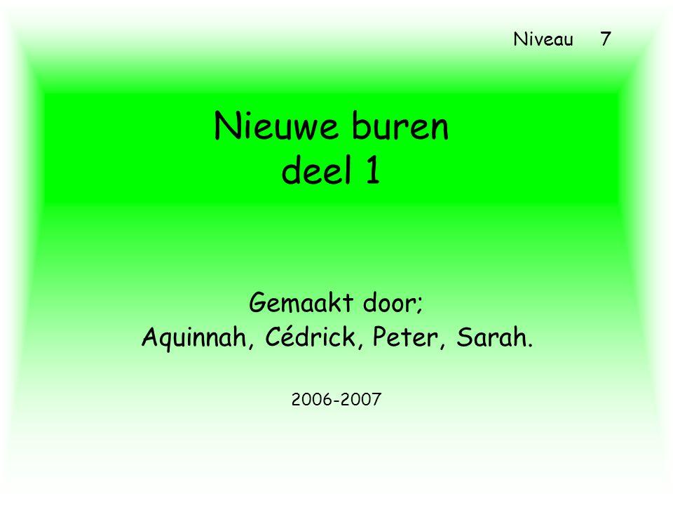 Nieuwe buren deel 1 Gemaakt door; Aquinnah, Cédrick, Peter, Sarah. 2006-2007 Niveau 7