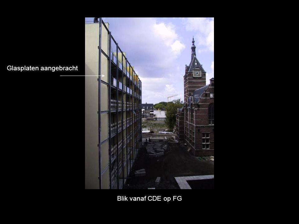 Blik vanaf CDE op FG Glasplaten aangebracht