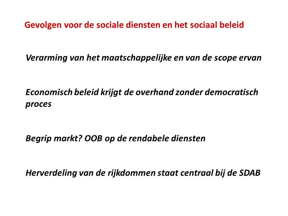 Gevolgen voor de sociale diensten en het sociaal beleid Verarming van het maatschappelijke en van de scope ervan Economisch beleid krijgt de overhand zonder democratisch proces Begrip markt.