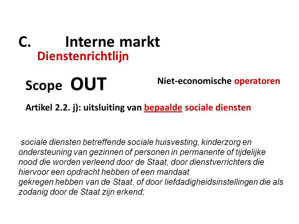 C.Interne markt Dienstenrichtlijn OUT Scope OUT Artikel 2.2.