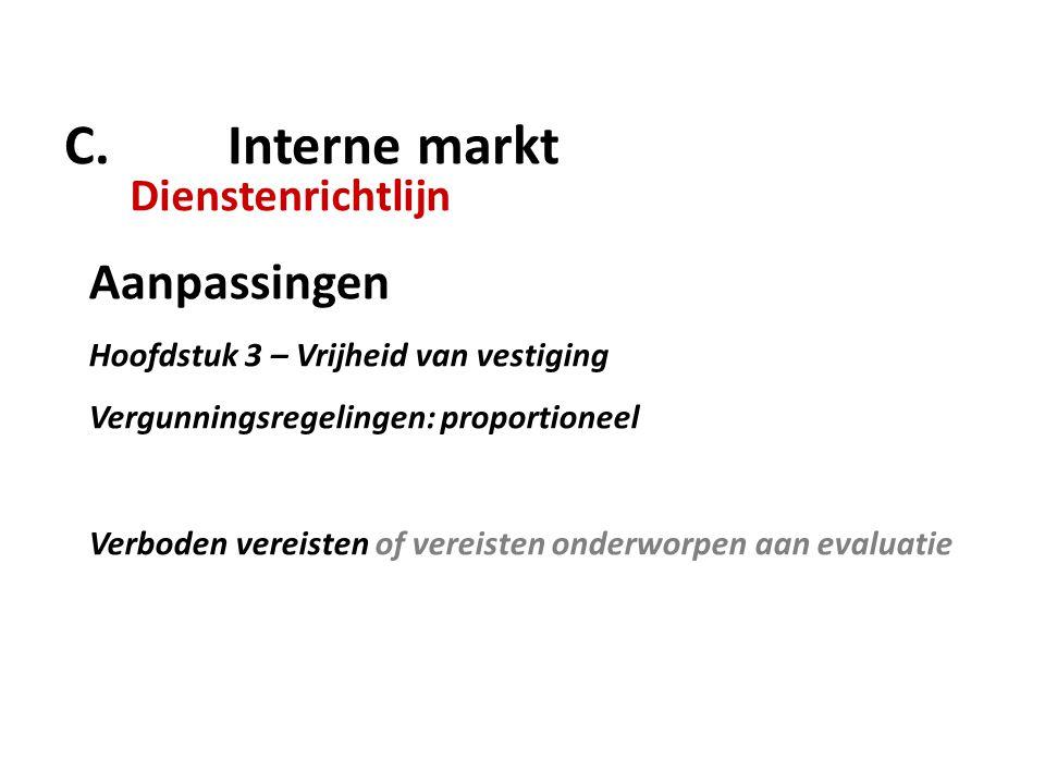 C. Interne markt Dienstenrichtlijn Aanpassingen Hoofdstuk 3 – Vrijheid van vestiging Vergunningsregelingen: proportioneel Verboden vereisten of vereis
