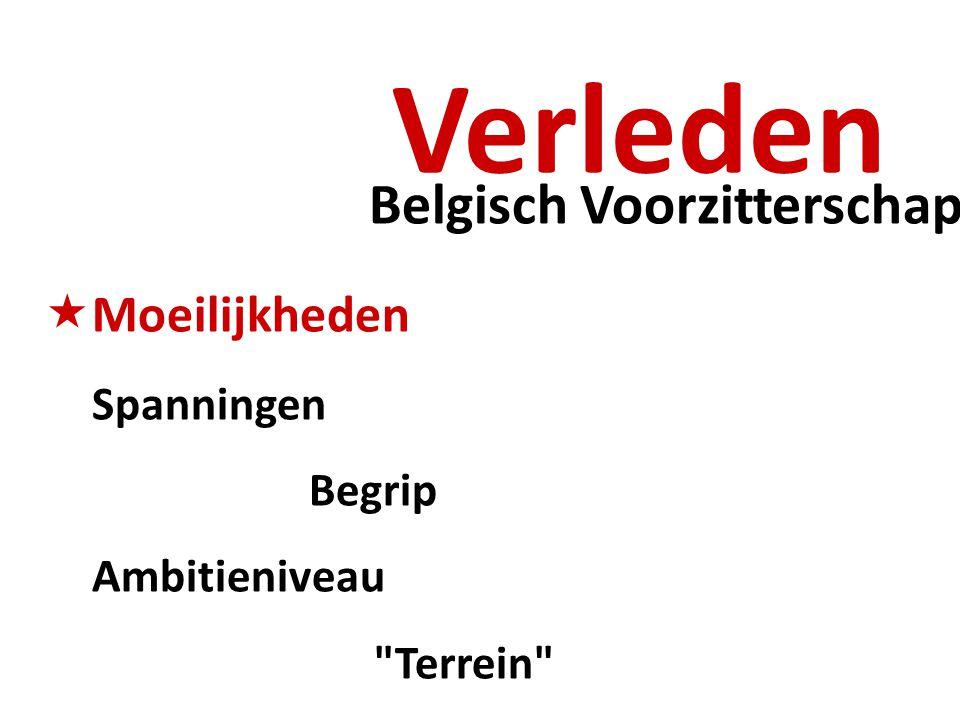 Belgisch Voorzitterschap Verleden  Moeilijkheden Spanningen Begrip Ambitieniveau Terrein