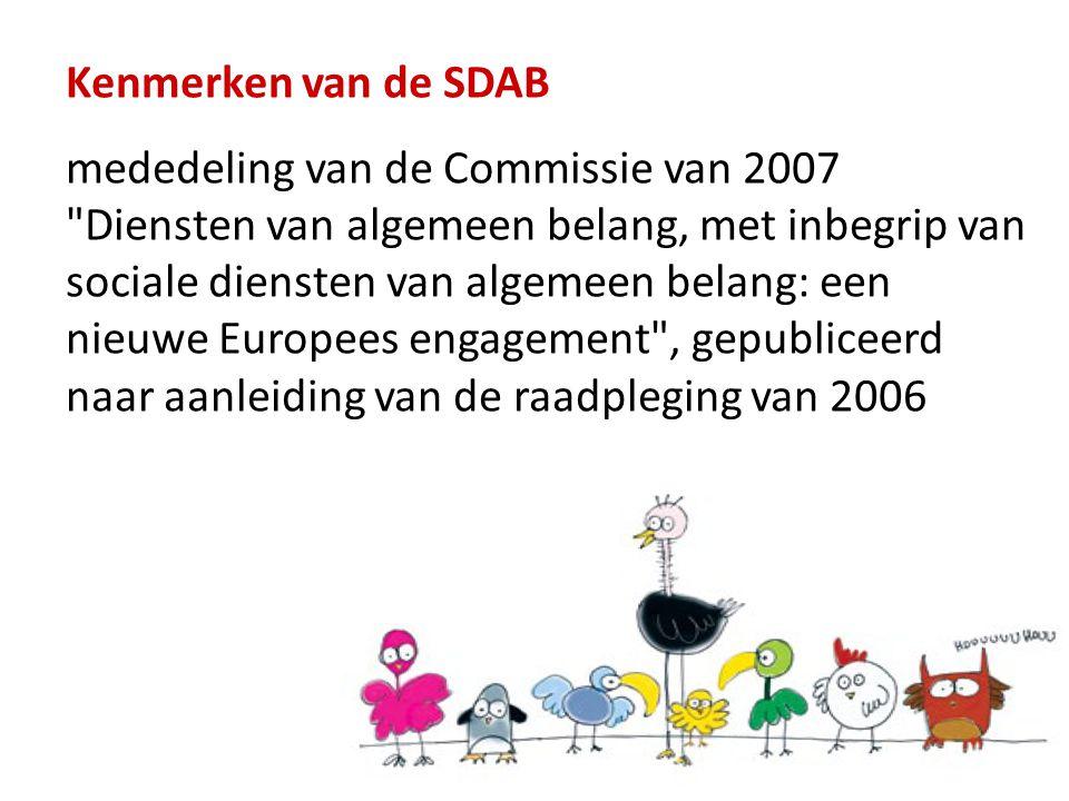 Kenmerken van de SDAB mededeling van de Commissie van 2007 Diensten van algemeen belang, met inbegrip van sociale diensten van algemeen belang: een nieuwe Europees engagement , gepubliceerd naar aanleiding van de raadpleging van 2006