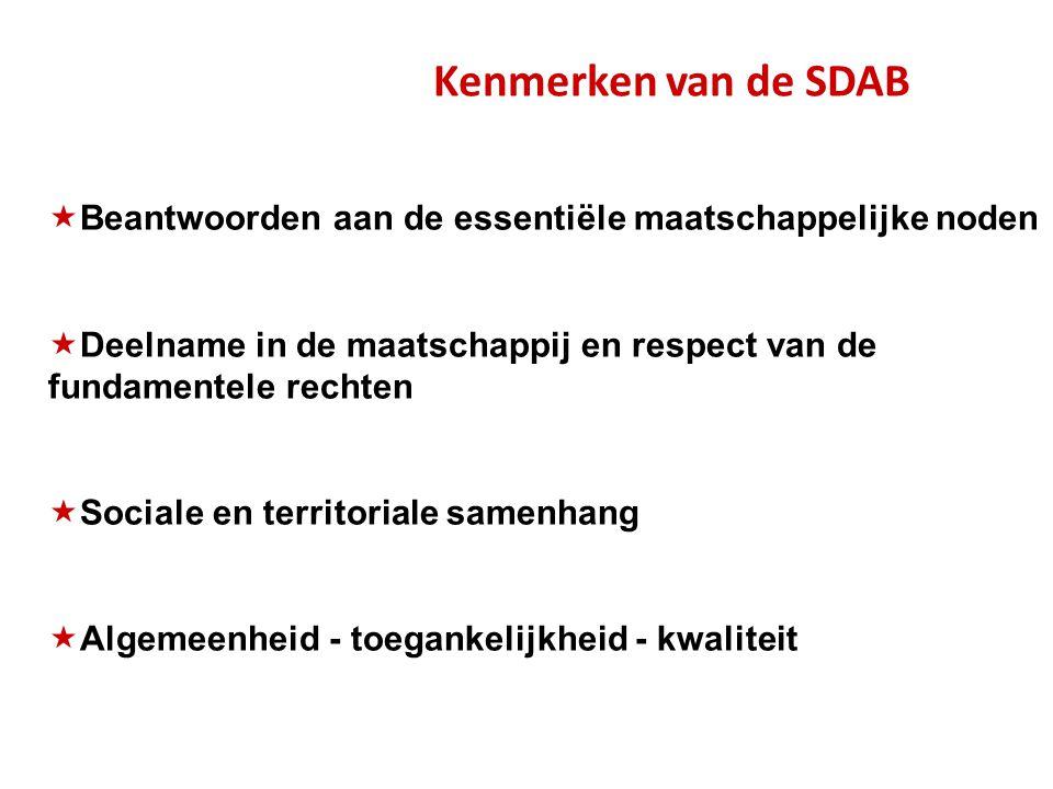 Kenmerken van de SDAB  Beantwoorden aan de essentiële maatschappelijke noden  Deelname in de maatschappij en respect van de fundamentele rechten  Sociale en territoriale samenhang  Algemeenheid - toegankelijkheid - kwaliteit