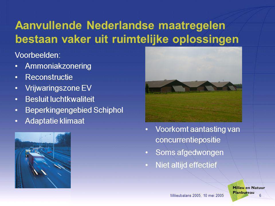 Milieubalans 2005, 10 mei 20056 Aanvullende Nederlandse maatregelen bestaan vaker uit ruimtelijke oplossingen Voorbeelden: Ammoniakzonering Reconstructie Vrijwaringszone EV Besluit luchtkwaliteit Beperkingengebied Schiphol Adaptatie klimaat Voorkomt aantasting van concurrentiepositie Soms afgedwongen Niet altijd effectief