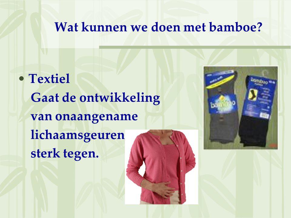 Wat kunnen we doen met bamboe? Textiel Gaat de ontwikkeling van onaangename lichaamsgeuren sterk tegen.