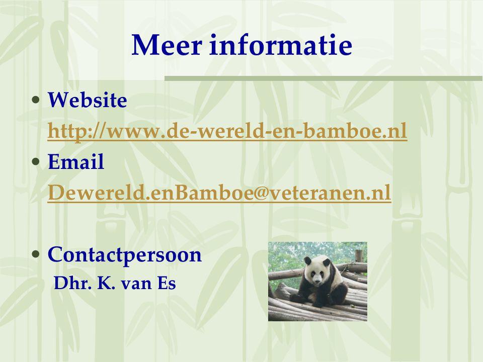 Meer informatie Website http://www.de-wereld-en-bamboe.nl Email Dewereld.enBamboe@veteranen.nl Contactpersoon Dhr. K. van Es