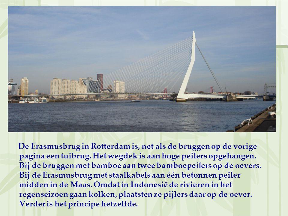De Erasmusbrug in Rotterdam is, net als de bruggen op de vorige pagina een tuibrug. Het wegdek is aan hoge peilers opgehangen. Bij de bruggen met bamb